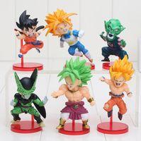 Wholesale goku set - 6pcs set 8-10cm Anime Dragon Ball Z Goku Solid Set the 38th PVC Action Figure Collection Model Toy Gift