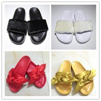 Wholesale Black White Butterfly Fabric - 2017 Top Quality Cheap Fenty Rihanna Bandana Slide Ladies Butterfly Slippers Bow Satin Slides Pink Purple White Sandals size 36-40