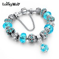 Wholesale Tibetan Red Bead Bracelet - LongWay European Style Authentic Tibetan Silver Blue Crystal Charm Bracelet for Women Original DIY Beads Jewelry Christmas Gift