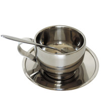Wholesale Cup Coffee Saucer - High Auality Stainless Steel Coffee Cup Belit Saucer And Spoon Multi Function Double Wall Heat Insulation Mug 11 5ct J