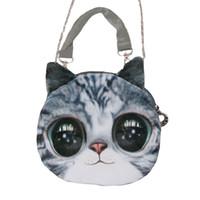 Wholesale Cat Head Handbag - Wholesale-2015 New Fashion Women Shoulder Bag Animal Cat Dog Head Print Crossbody Bag Zipper Mini Bolsos Handbag for Women Totes Bag
