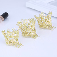 Wholesale Gold Prom Hair Accessories - Matte Gold Kids Girls Crown Tiara Wedding Birthday Pageant Prom Hair Comb Accessory Mini Circle Round Princess Hair Jewelry Tiaras Hot Sale