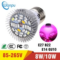 Wholesale E14 28 Led - LED Grow Bulb Light E27 E14 GU10 B22 Lamp 5730 18 SMD 28 SMD For Flowering Plant and Hydroponics System AC 85-265V