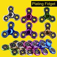 Wholesale Wholesale Chrome Plating - Gold Chrome Plating Tri-Spinner Fidget spinner Chrome Hand Spinner For Autism and ADHD Rotation Stress Relief Toys Gift Decompression oth378