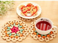 Wholesale Doily Bowl - Wholesale- Bamboo Round Bowl Mats Place Mat Manual Quality Placemats Doily Insulation Pads Potholder Kitchen Table Office Essential