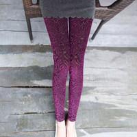 Wholesale Hollow Gold Velvet Leggings - Wholesale- Winter Sping Women Lace Leggings Hollow Carved Peach Heart Gold Velvet Jeggings Sexy High Elastic Through Skin Legging