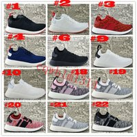Wholesale Pink Rubber Like - 2017 New Arrival NMD R2 PK Boost Sneakers Cheap Fashion Men Women Triple Black White Red Pink Primeknit Sock Like Sport Shoes Size 36-45