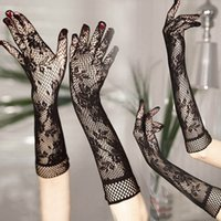 Wholesale Sexy Disco Party - Wholesale- Black white Sexy lady Disco dance costume party lace finger fishnet mesh long warmer gloves free shipping wholesale