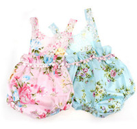 Wholesale T Shirt Size Cm - Baby girls Floral Printing T-shirts 2017 European Summer New Lace baby girls Sleeveless clothes Newborn Tassel Romper climb suit T0727
