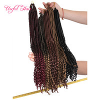 Wholesale Goddess Hair Wholesale - free shipping 22inch goddess locs hair half straight half wave braids synthetic hair extension 24strands pcs faux locs crochet braiding hair