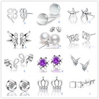 Wholesale White Opal Earings - S 925 Stamped Sterling Silver Plated Mixed Opal Pearl Crystal stud earrings Crown wing Letters earings Fashion brand jewellery for women