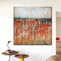 Wholesale Best Hand Painted Canvas - Framed 2017 new best popular Red Colour Perception Abstract Wall Art,Hand Painted Modern Rusty Loft Style Art Oil Painting Multi Size Ab131