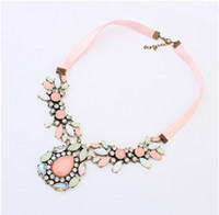 Wholesale Silk Rope For Jewelry - Wholesale-New 2015 Hot Pendant Chokers Necklace Jewelry Silk Chain Statement Necklaces Water Drop Gem Pendants For Gift Party Wedding