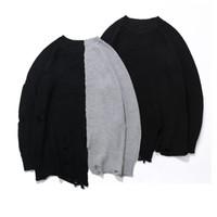 ingrosso maglioni mens di alta qualità-Holes Winter Fashion Maglione Mens Knaye West Vintage Hip-Hop Style oversize cucitura maglione uomini pullover di alta qualità