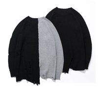 Wholesale Oversized Wool Sweater - Holes Winter Fashion Sweater Mens Knaye West Vintage Hip-Hop Style oversized Stitching high quality sweater men Pullovers