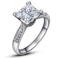 anéis de casamento de prata e prata puro venda por atacado-Luxo Pure Silver Wedding Rings China Marca Jóias SONA Zirconia Diamante 925 Sterling Silver Anéis de Noivado para As Mulheres