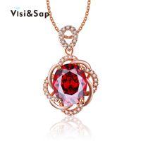 79bbf5f03d72 Collar de Visisap para las mujeres flor de la boda cadena de color blanco  oro colgante de joyería de circonio cúbico colgante diseño de la marca  LSN010