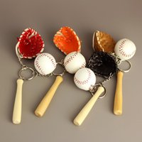 Wholesale Black Bat Pendant - 4 Color Sports Memorabilia - Cute Mini Softball Baseball Glove Wooden Bat Keychain Bag Pendant Key Chain Ring