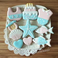 8pcs Ocean Starfish Shell patisserie reposteria Moldes Metal Cookie Cutters Fondant Cake Décoration Outils Baby Hundred Days Biscuit Mould