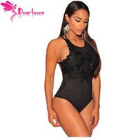 Wholesale Low Back Bodysuit - 2016 Women Sexy Rompers Overalls Black Embroidered Crisscross Low Back Bodysuit Elastic Sexy Playsuit Lingerie LC3288 17410