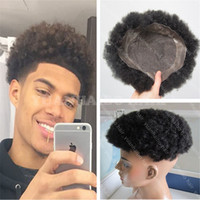 Wholesale Short Afro Kinky Curl - Best quality short 6inch afro kinky curl virgin indian hair toupees for black men free shipping
