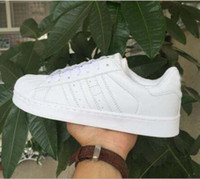 Wholesale Women Dazzling Shoes - DORP SHIPPING Classic Shoes Men 's Shoes For Women' s Shoes White Shoe Laser Dazzle see Superstar Shell Head Sneakers, Free Shipping