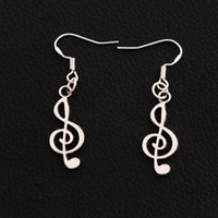 Wholesale music notes earrings for sale - Group buy Treble Cleft Music Note Earrings Silver Fish Ear Hook pairs Chandelier Dangle E228 x9 mm