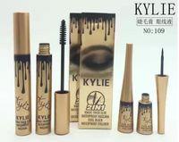Wholesale Eye Liner Gold - New Makeup kylie Birthday waterproof Slim dense Curling Mascara and eye liner set kylie Gold Birthday Mascara and eye liner