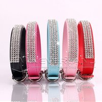 Wholesale Leather Cat Collars Rhinestones - Bling Dog Collar PU Leather Rhinestone Diamante Pet Puppy Cat Fashion Necklace Black Red Pink Blue