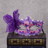 Wholesale Mask Painting Butterfly - Hot Halloween Makeup Ball Venetian Cloth Painted Princess Party Mask Men and Women Butterfly Eye Mask