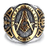 jóias de moda maçônica venda por atacado-Moda de Alta Qualidade Mens Aço Inoxidável Anel de polegar, Vintage, Motociclista, Ouro, Preto, maçônica, Mens Jóias Anéis