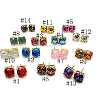 Wholesale Wholesale Red Rhinestone Square Studs - Hot Popular Druzy stud Earrings Various fantasy Colors opal Square Stone stud earrings Gold Plated for women Jewelry Lady