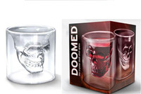 Wholesale crystal head vodka skull - Doomed Crystal Skull Head Double Wall Vodka Shot Glass Cup for Home Bar Birthday Party Beer Wine Whisky Drinking Glasses Cup 75ML