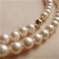 LIVRAISON GRATUITE14K Solid Gold CL 8-9MM White Akoya Pearl Necklace 18