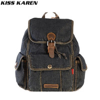 Wholesale Blue Jeans Cover - Wholesale- KISS KAREN Classic Cowboy Fashion Denim Women Backpack Casual Stylish Backpacks Jeans Women Bag Travel School Drawstring Bags