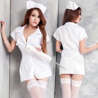 Wholesale Sexy White Spandex Nurse Costume - Free shipping new sexy lingerie school uniforms nurse maid stewardess uniforms temptation to suit small chest MM inner passion sexy fun