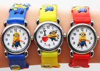 Wholesale Minion Silicone - Free Shipping Hot Sales 3D Cartoon Despicable Me Minion Kids Children Boys Girls Gifts Watch Quartz Silicone Wrist watch