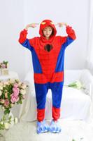 Wholesale Spiderman Onesie - Fashion Creative Autumn and Winter Flannel Unisex Adult Warm Spiderman Onesie Elephant Pyjamas Sleepwear Kigurumi Cosplay Dress
