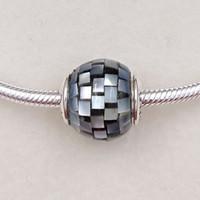 gestreiftes armband großhandel-Balance Essenz Charms aus 925 Sterling Silber Fit europäischen Stil Marke Armbänder ALE gestreiften Shell Perlen für Schmuck machen