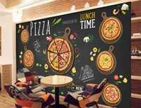 Wholesale Custom Pizza - Custom restaurant wallpaper,Hand-painted cartoon delicious pizza,3D murals for cafe restaurant background wall PVC wallpaper