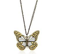 Wholesale Costume Jewelry Butterfly Necklace - Vintage Elegant Butterfly Long Beaded Chain Necklace Women Office Accessory Bohemia Costumes Jewelry Bijoux AA325
