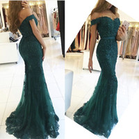 Wholesale Forest Green Dresses - Forest green 2017 New Mermaid Evening Dresses Long Tiered Skirts Off-Shoulder sleeveless Zipper Floor-length Tulle Beaded Lace Prom Dresses