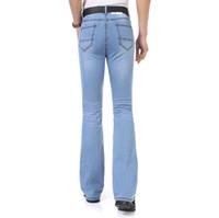 pantalones de corte delgado al por mayor-2016Casual al por mayor para hombre de negocios azul mediados de cintura Slim Fit Boot Cut pantalones acampanados Semi-llamarada Pierna Denim Plus Tamaño MB16239