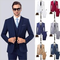 Wholesale Men Wedding Suit White Color - The High Quality Spring 2017 Business and Leisure Suit A Two-piece Suit The Groom's Best Man Wedding 8 Colors