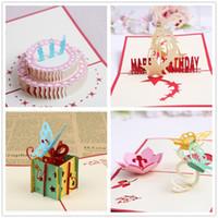 tebrik kartları stilleri toptan satış-4-Styles Paketlenmiş doğum günü partisi malzemeleri doğum günü hediyesi tebrik kartları çocuklar parti iyilik 3D doğum günü pop-up kartları tebrik kartı