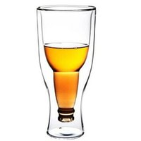 Wholesale Hopside Down Beer Glass Wholesale - Inverted Beer Cup Creative Double Layer Transparent Beverage Milkshake Mug Novelty Hopside Down Beers Steins Glass Hot 9 69hy F