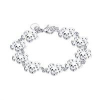"Wholesale Silver Rolo Bracelet Chain - New Arrival Romantic Style Silver Plated Color ""Flower Bracelet"" Rolo Bracelet for Women Global Free Shipping H169"