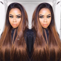 Wholesale lace front wigs promotions - 2017 Hot Sales Promotion for ombre dark roots 27# honey blonde Full Lace Wig Lace Front Wig 100% Human Hair