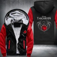 Wholesale House Keeping - New style Differ Game Of Thrones House Of Targaryen Graphic Super Thicken Fleece Men's thickening Winter Keep warm Sweatshirts USA size