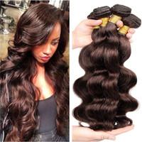 Wholesale chestnut brown hair weave online - 9A Virgin Peruvian Hair Extension Unprocessed Natural Brown Body Wave Human Hair Weave Weft Chestnut Brown Hair Extenisons